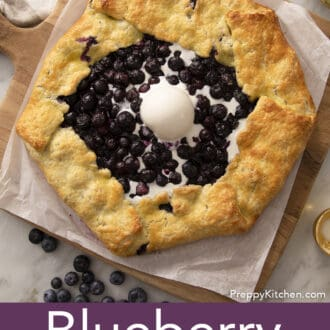 Vanilla ice cream melting into a blueberry galette.