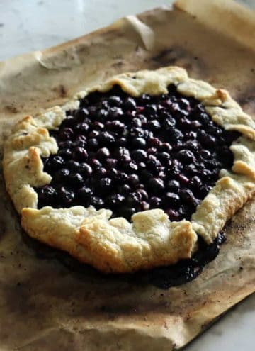 a blueberry galette fresh out of the oven