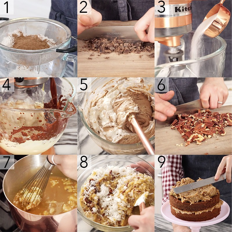 A photo showing steps on how to make a German chocolate cake.