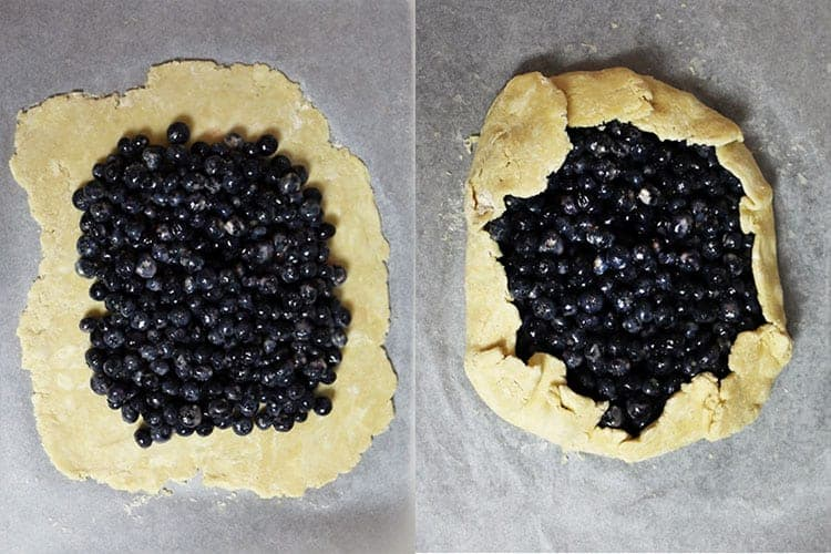 A blueberry galette before and after having the dough folded around the edge