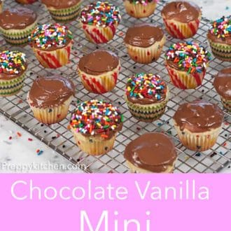 mini cupcakes with chocolate frosting on a wire cooling rack