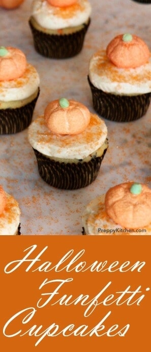 These moist and delicious Halloween treats will have your friends screaming for more. I could not pass up these cute marshmallow pumpkins from Williams-Sonoma; little did I know they make the perfect cupcake topper! @PreppyKitchen