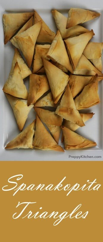 Filo dough is amazing, so is butter; these spanakopita triangles have both. For those of you who do not know, spanakopita is a simple but tasty Greek dish of spinach and feta, with fresh dill, lemon, and scallions. It's encapsulated in a flakey paper-thin pastry shell and you will have to make about a thousand of them because they get eaten so fast. These are great as a canapé or as a side dish for the main course. @PreppyKitchen