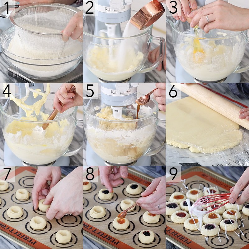 A photo showing steps on how to make thumbprint cookies.