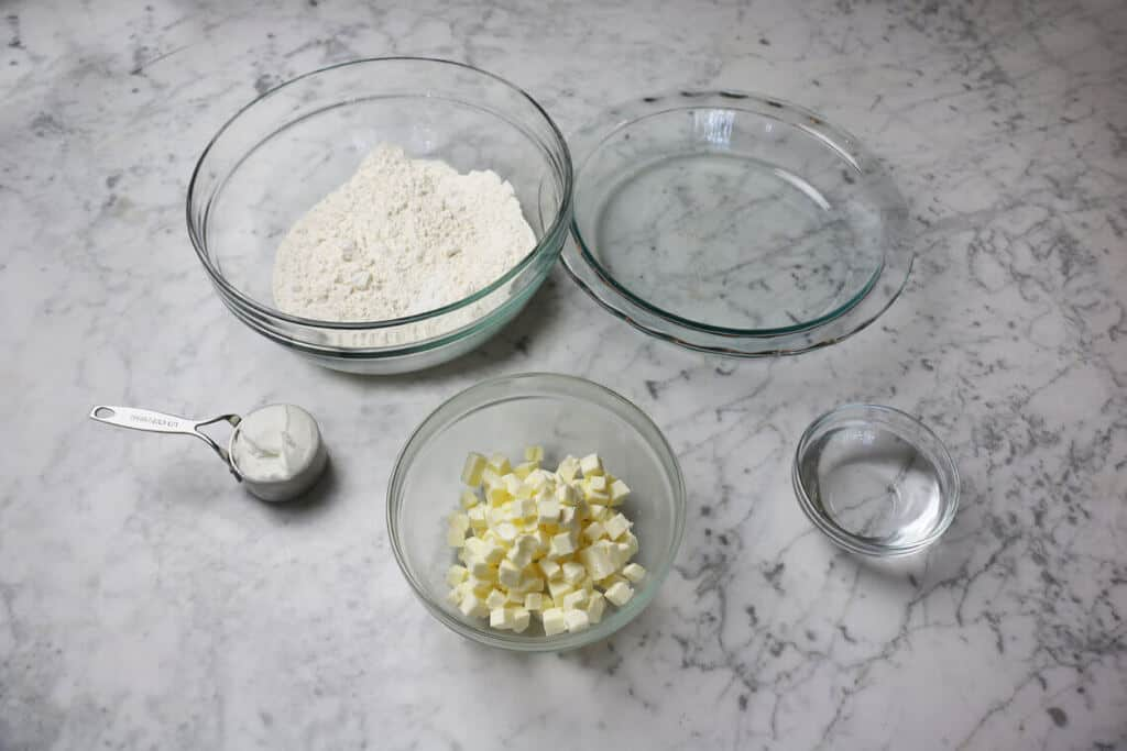 A photo of ingredients to make pie crust