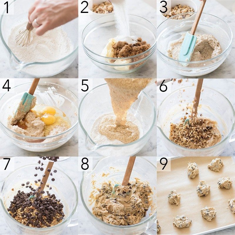 A photo showing steps on how to make chewy chocolate chip cookies.