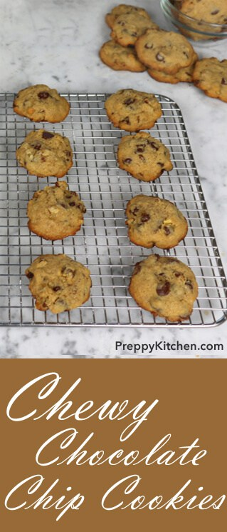 Chewy and gooey chocolate chip cookies, fresh out of the oven? Yes, immediately, please. Could use this delicious treat to help brighten my day. Sometimes you just can't beat the basics... @PreppyKitchen