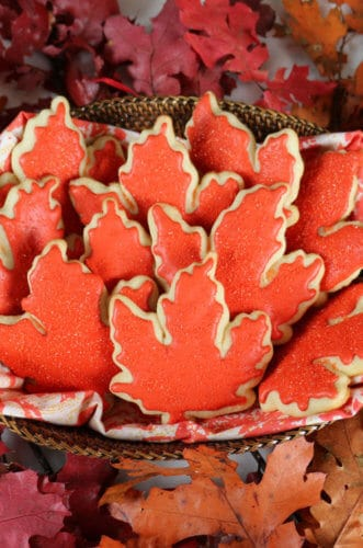 A photo of autumn leaf Sugar Cookies.