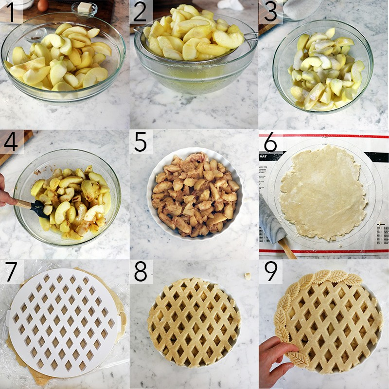 A photo showing steps on how to make apple pie.