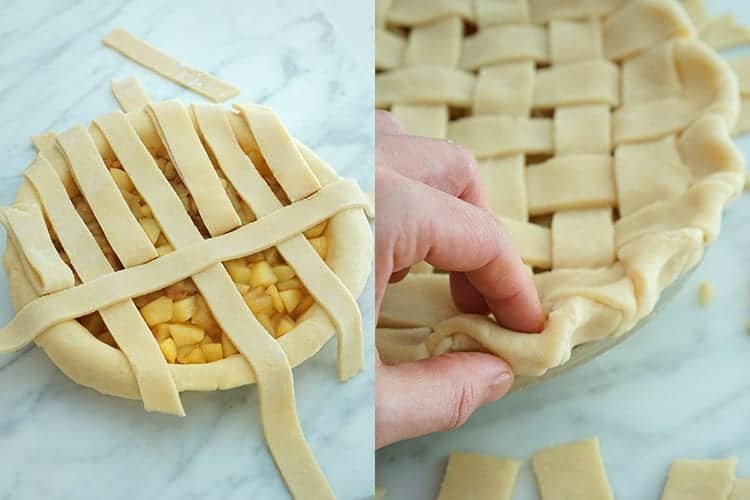 A lattice top being woven for an apple pie