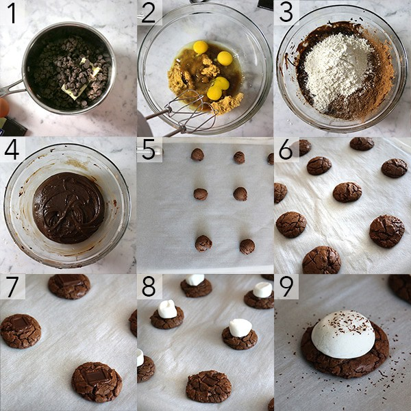 A photo collage showing the stesps to make Hot chocolate cookies