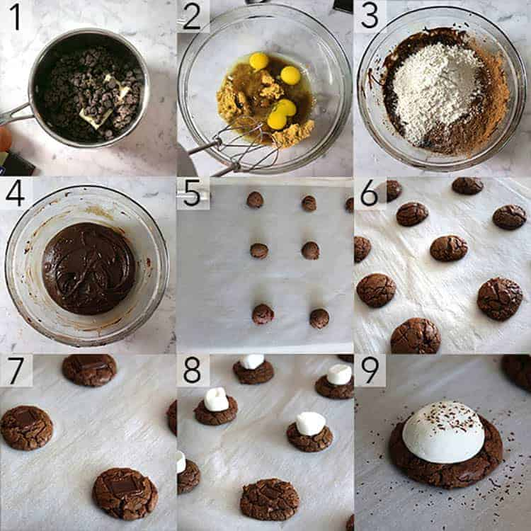 A photo collage showing the steps to make Hot chocolate cookies