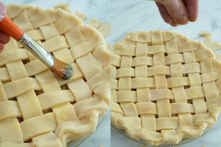A lattice toipped pie having an egg wash applied then sprinkled with sugar.