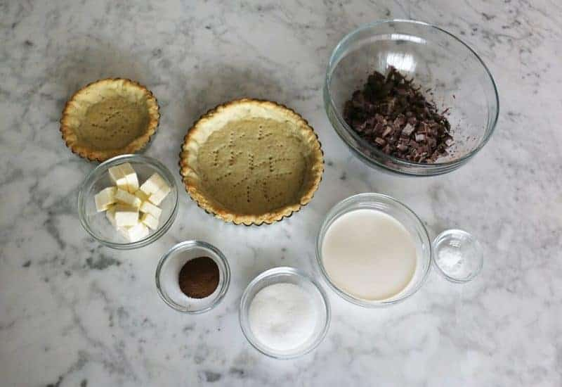 A photo of the ingredients to make a delicious chocolate tart.