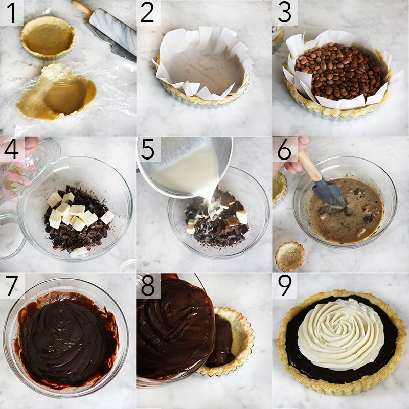 A photo showing steps on how to make a chocolate tart.