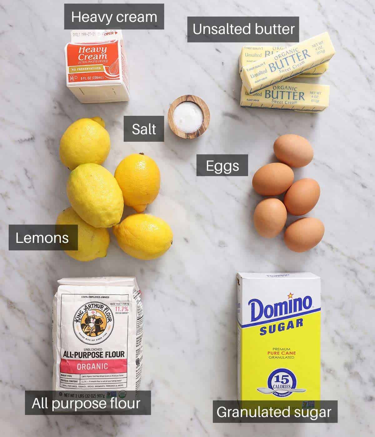 An overhead shot of all the ingredients you need to make a lemon tart