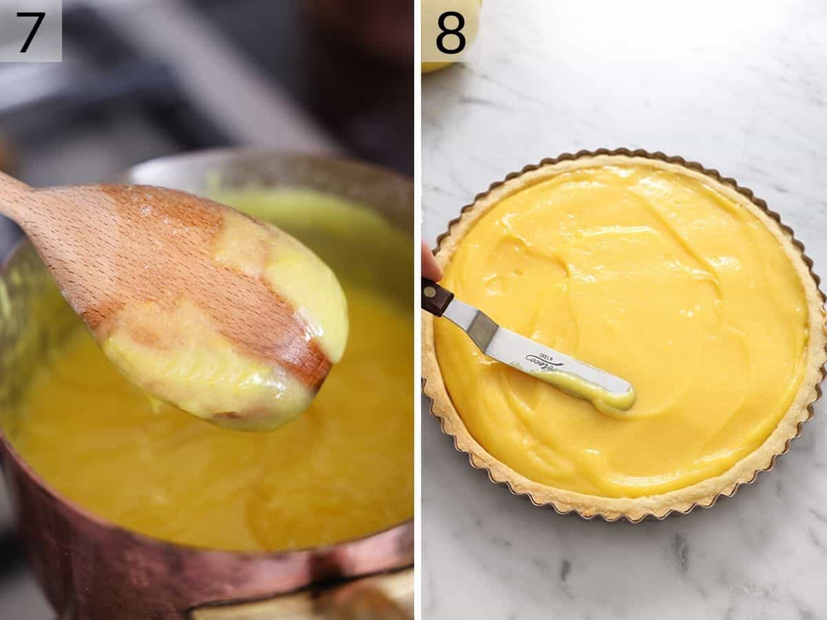 Two photos showing what lemon curd looks like when it's ready and filling a tart with it