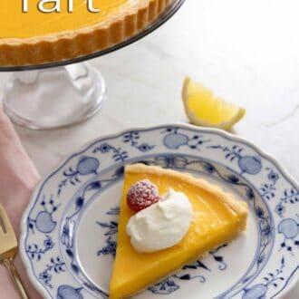 A pinterest graphic of a lemon tart