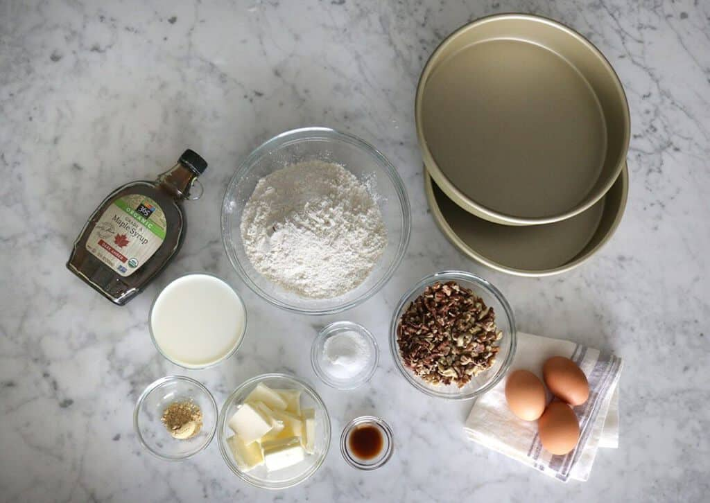 A photo of ingredients to make a maple cake.