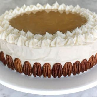 A photo of a Maple Cake with Bourbon Frosting.