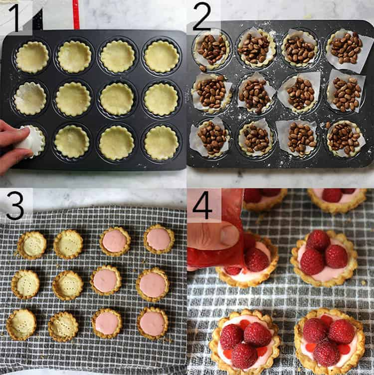A photo collage showing the steps to make raspberry tarts
