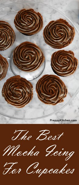 One of my favorite icings is flavored with coffee and a bit of chocolate. This versatile, delicious icing will compliment many different flavors. It may even become your go-to cupcake topping or cake filling. For this post, I made devil's food cupcakes and was shocked by how good this out of the box mix was. @PreppyKitchen