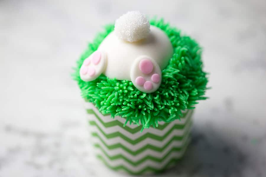 A photo of a cute bunny butt cupcake.