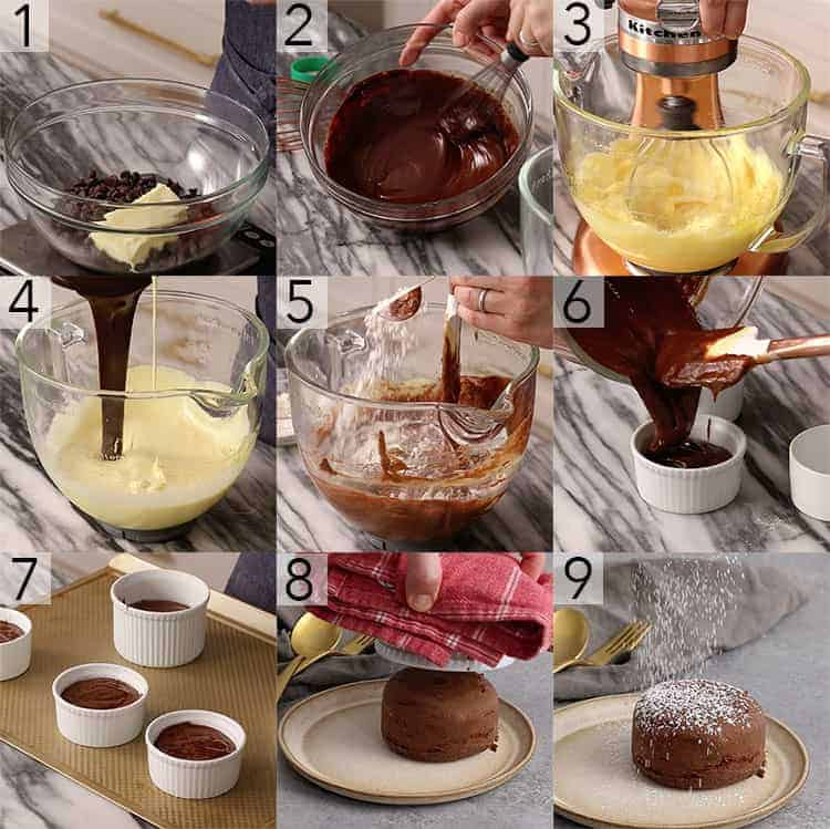 A photo grid showing steps to make chocolate lava cake