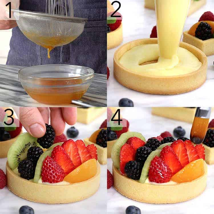A photo grid showing the steps to assemble a fruit tart.