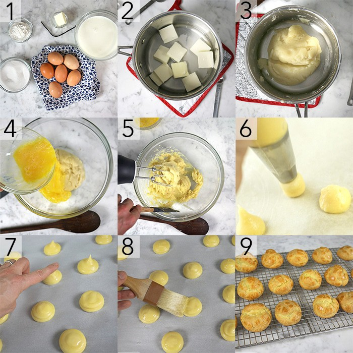 A photo grid showing the steps to make choux puffs.