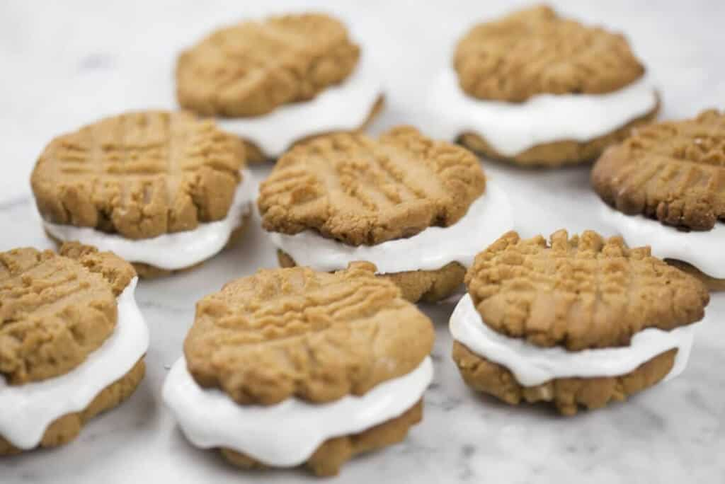 A photo of peanut butter marshmallow sandwich cookies.