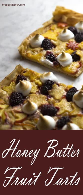 These Honey Butter Fruit Tarts are composed of delicious layers of crispy filo dough, blackberries, and stone fruit. Don't forget that honey butter glaze. It's too good not to try! Or eat all by yourself... @PreppyKitchen