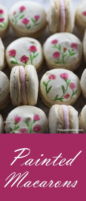 These painted macarons make a very special treat to give your friends and family. They're bite-sized, painted Heaven! Nothing yummier than these. @PreppyKitchen