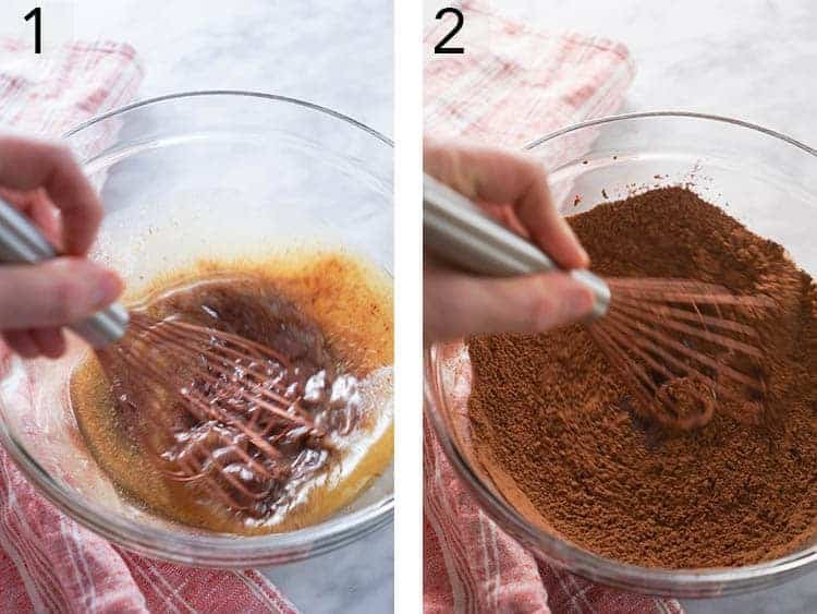 Cheesecake brownie batter being mixed in a bowl.