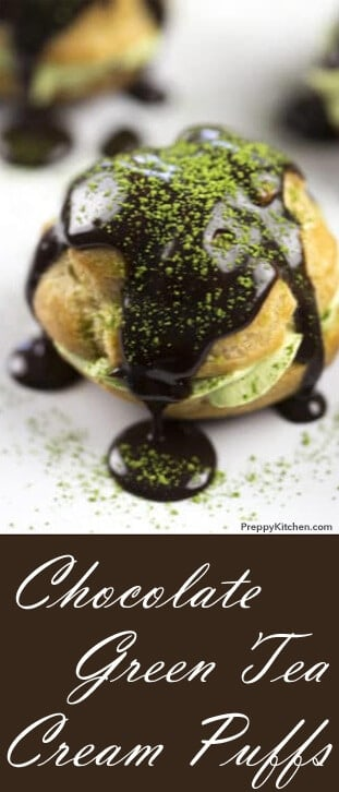 Chocolate Green Tea Cream Puffs are to die for. These cream puffs are covered in chocolate and filled with a delicate green tea whipped cream. You won't be able to eat just one! @PreppyKitchen