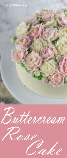 Buttercream roses in pink and white make the most beautiful cake. They're elegant and timeless (not to mention tasty). @PreppyKitchen