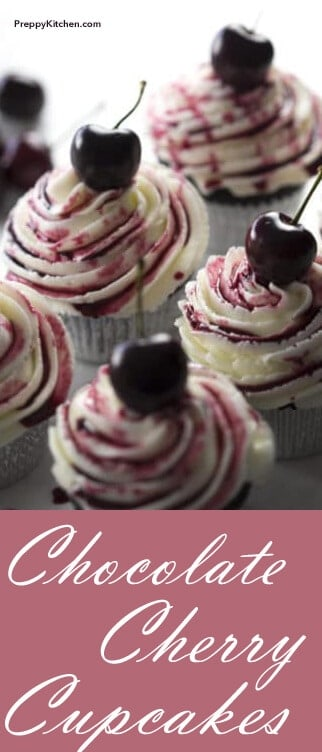 These chocolate cupcakes are filled with delicious cherries and topped with a vanilla buttercream. They're small but mighty. Tasty. Savory. Stunning. All the above! @PreppyKitchen