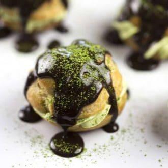 Chocolate Green Tea Cream Puffs