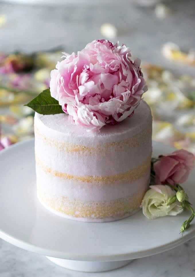 a photo of a vanilla cake with soft pink buttercream and a peony on top