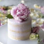 A photo of a soft pin vanilla cake topped with a beautiful peony