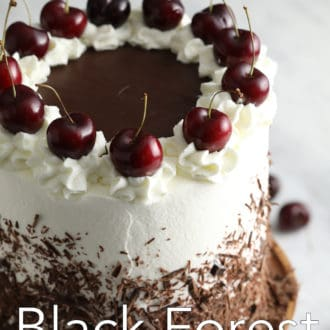black forest cake on a stand