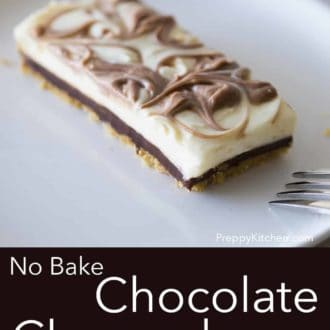 piece of no bake chocolate cheesecake on a white plate