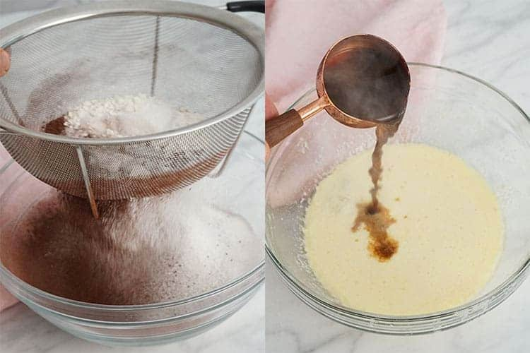 A photo collage showing dry ingredients being sifted and wet ingredients mixed