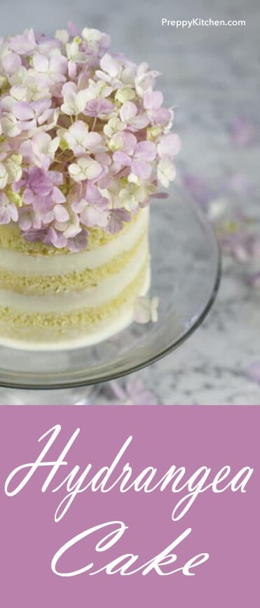 This hydrangea cake is the CUTEST cake ever, and it only takes a few minutes to decorate. Just add the deconstructed hydrangea before serving and remove when you're ready to cut, they shouldn't be eaten. Super yummy and pretty! @PreppyKitchen