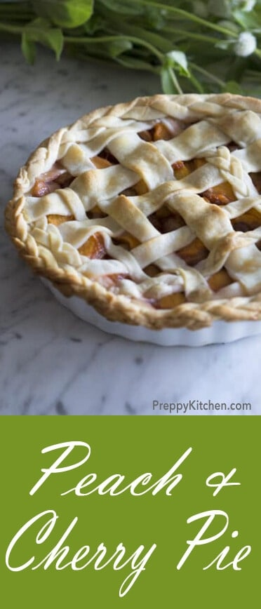 Peach and Cherry Pie, Oh MY! An innovative approach to a classic dessert. Nothing compares to this baby. @PreppyKitchen