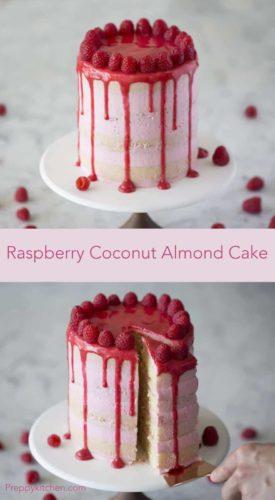 Raspberry Coconut Almond Cake