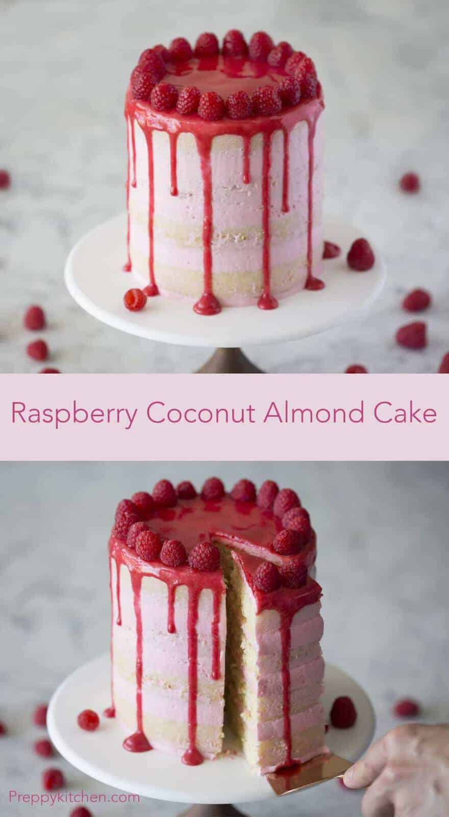 Raspberries aren't the surprise in this cake! The cake itself has coconut, vanilla and almonds; perfectly complementing the zesty buttercream.  Click over for full recipe and video.