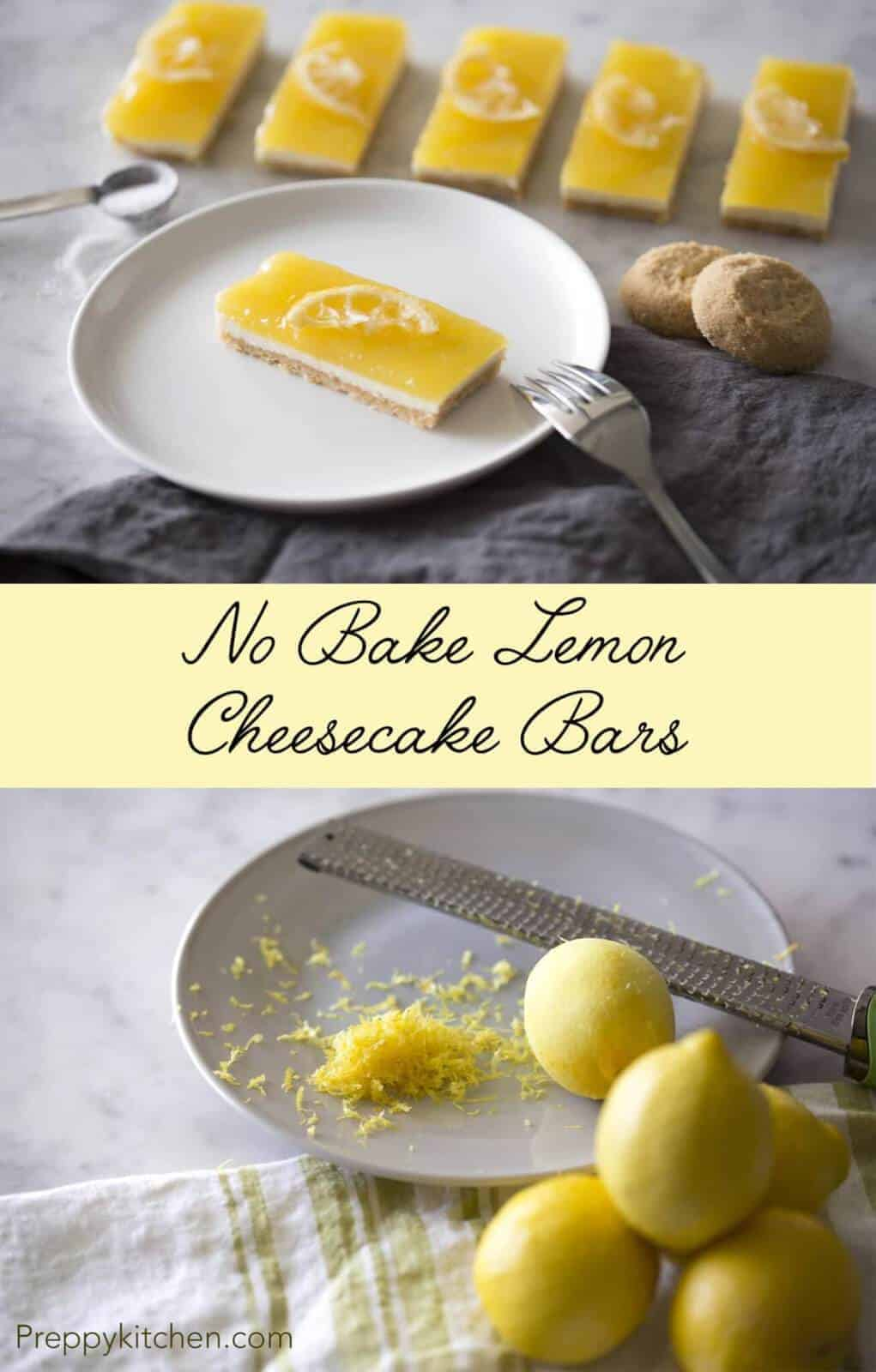 These no bake lemon cheesecake bars have a cookie crust, creamy cheesecake middle and zingy lemon curd making for a great combo. Click over for full recipe and video.