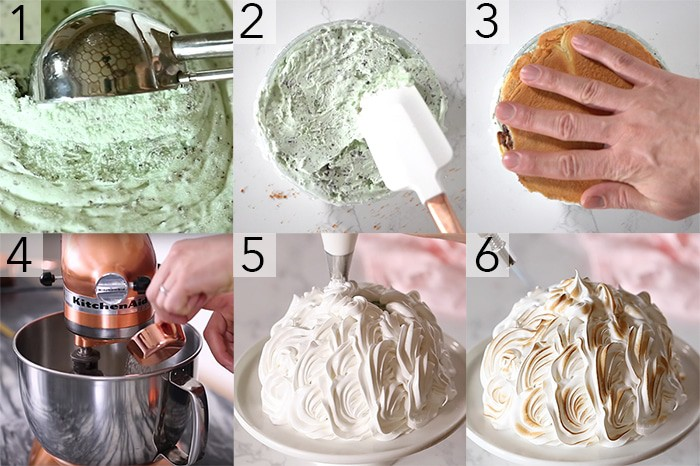 A photo collage showing the steps to make a baked Alaska with toasted meringue.