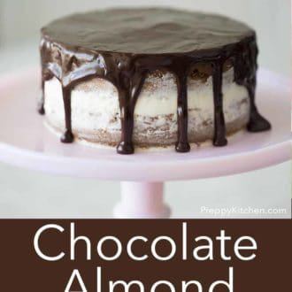 two layer chocolate almond cake with chocolate drip on a pink cake stand